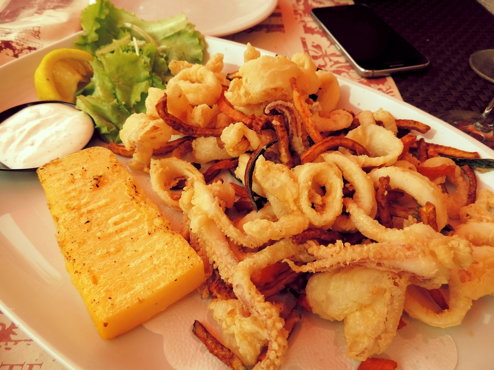 Delicious seafood - squid in a lighter batter with polenta.