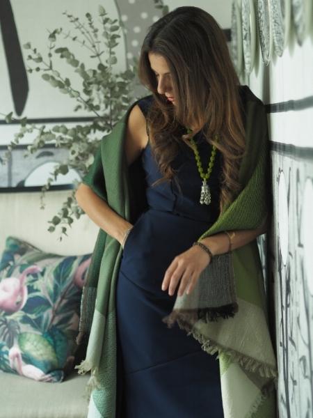 Pictured: Merino Wool Cape - Green/Banjara Sari Pendant -Lime Green/Yellow