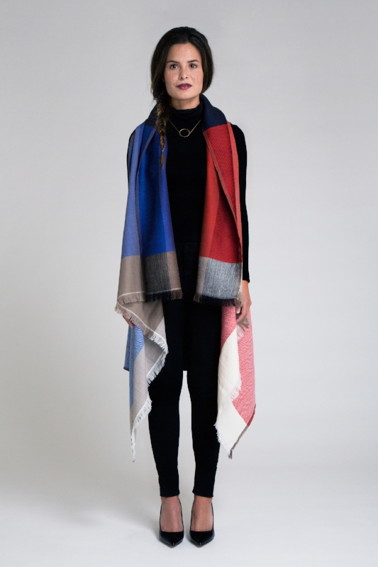 Merino wool cape - red/blue