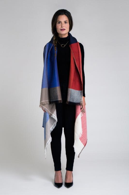 Merino wool cape - red/blue