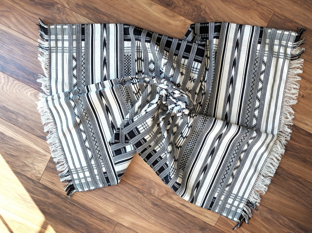 Oasis Handwoven Throw with white fringing - Monochrome