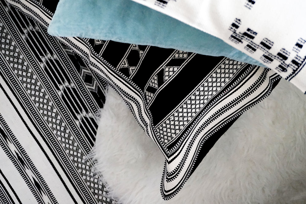 Oasis Handwoven Border Cushion - Monochrome