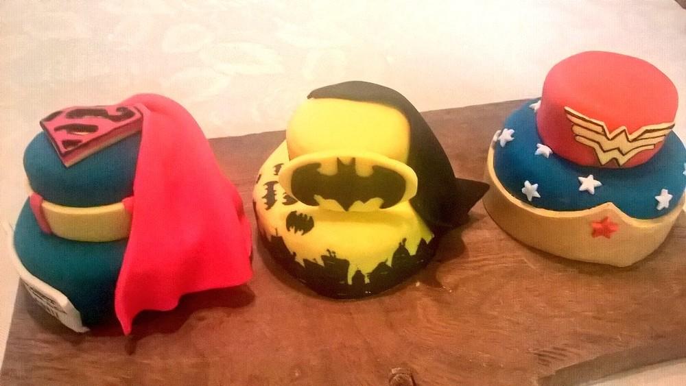 Superhero individual tiered cakes