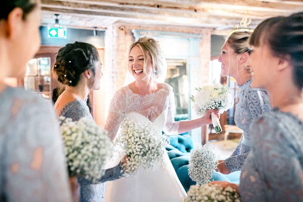 Bride Francesca and her maids wearing Alara in bluebird - Photo:  Paul Liddement