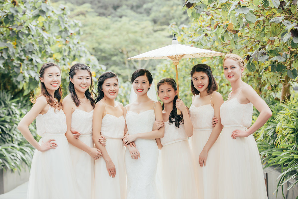 Beautiful bride Laurina & her girls wearing TH&TH Privé.