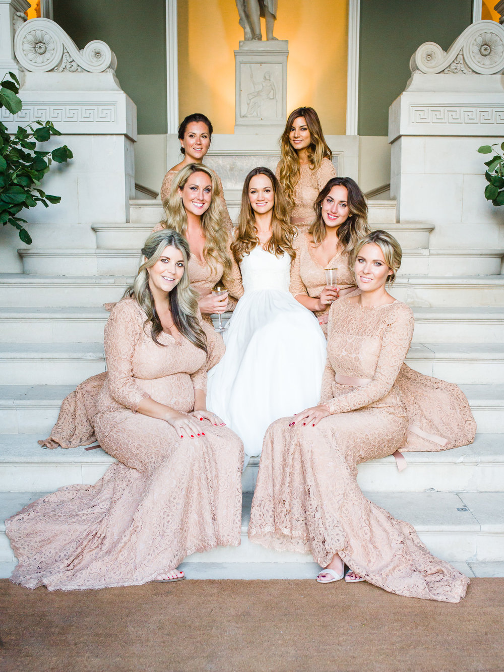 Beautiful Eliza and her best girls at Pynes House. The bridesmaids wore a mix of Alara and TH&TH Privé Lucy dresses in Tan. Photo by  Amy O'Boyle.