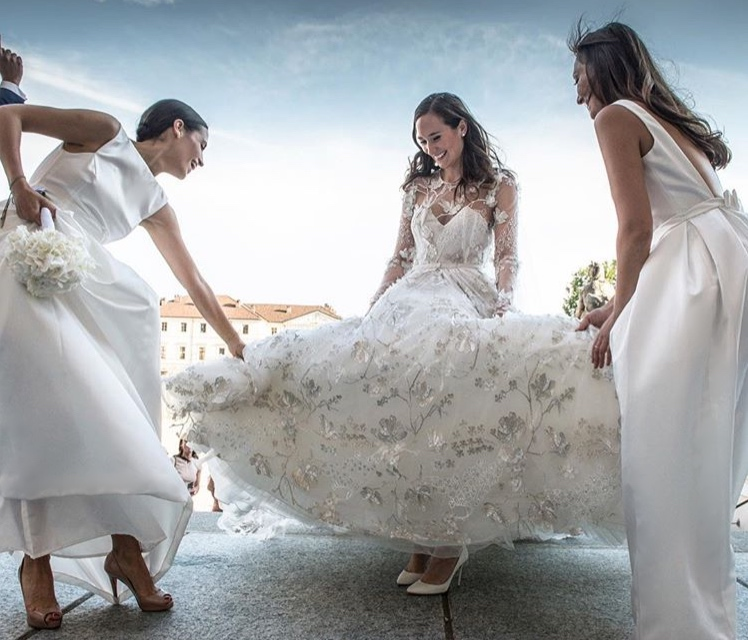 TH&TH Privé for stunning bride Alexandra's bridesmaids. We created gowns in ivory duchess satin for this spectacular Italian wedding. Photo by  Margherita Borsano