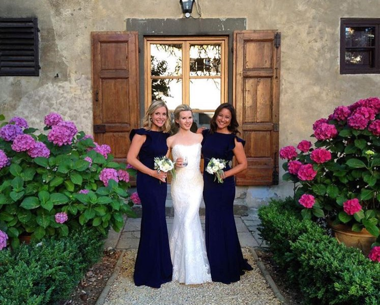 Cecelia in Ink Navy for beautiful bride Malin's bridesmaids.