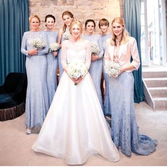 Stunning bride Francesca chose Alara in bluebird and a bespoke Alara skirt for her maid of honour. Photo -  Paul Liddement.