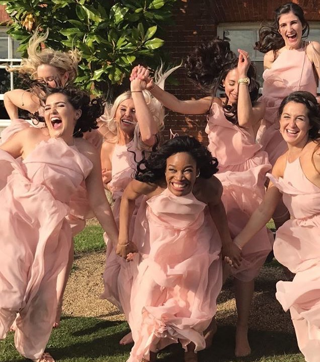 Chiffon explosions for Amanda's bridesmaids. All wearing Olympia in Blush.