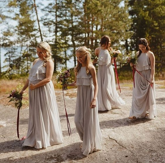 Olympia gowns in Silver Mist for Sarah's bridal party - Photo:  Ed Peers