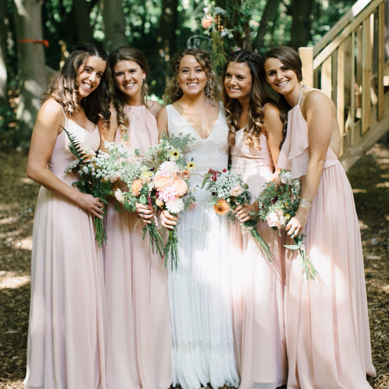 Claire chose a mix of Olympia and Edie in blush for her bridesmaids. Photo -  Chris Barber Photography