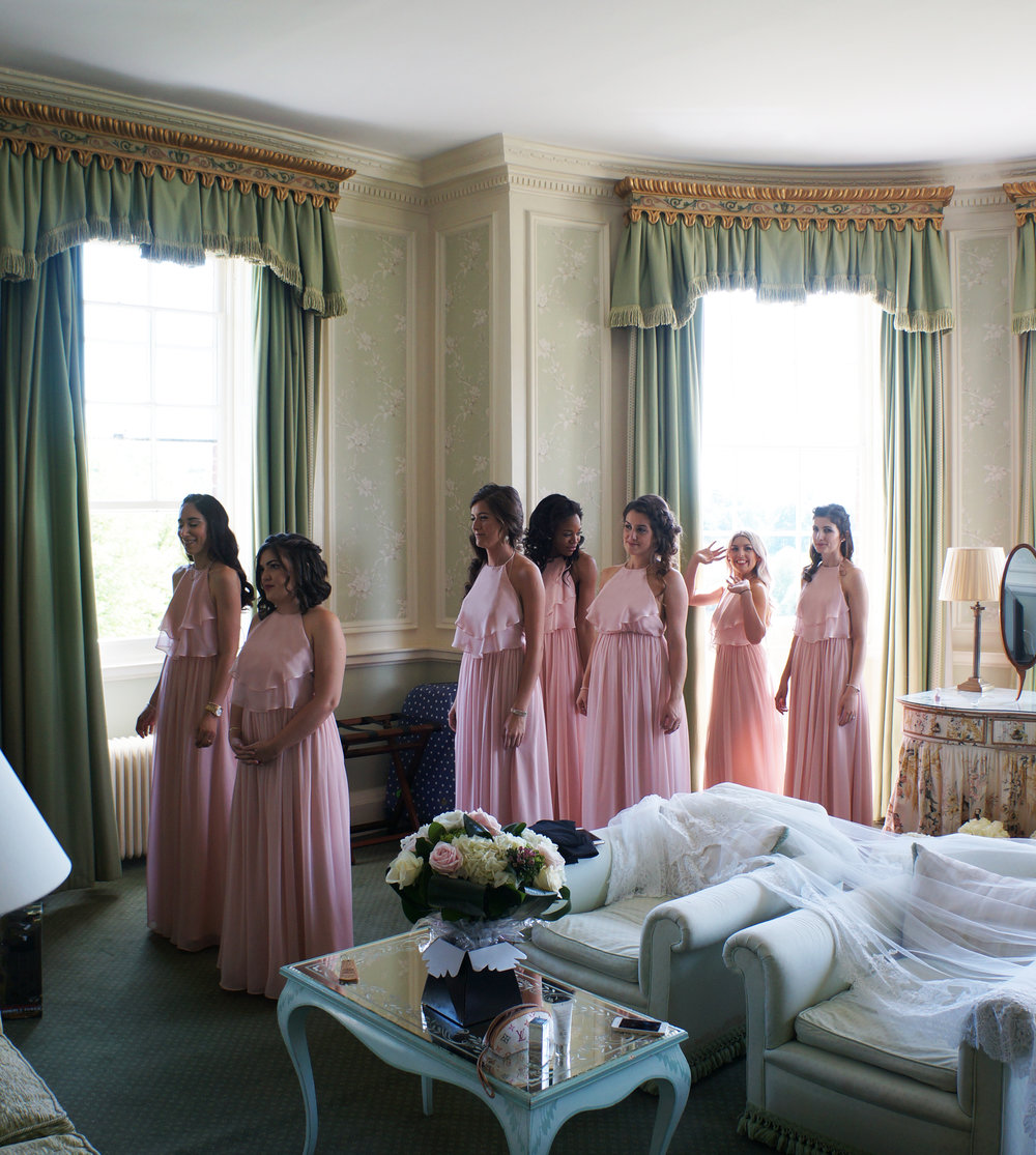 A line of Olympia blush for Amanda's bridesmaids.