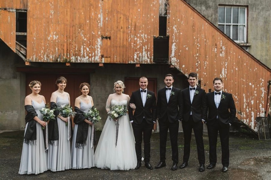 Tash's stunning Winter Wedding with her girls in Edie Silver Mist Photo -  David Cavan