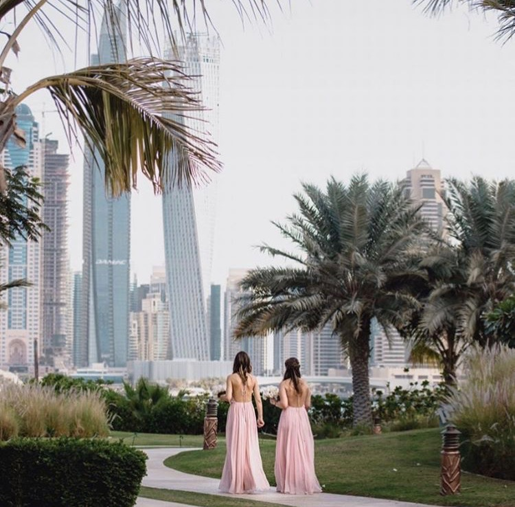 Olympia in blush for this beautiful Dubai wedding. Photo by  Bernie & Bindi