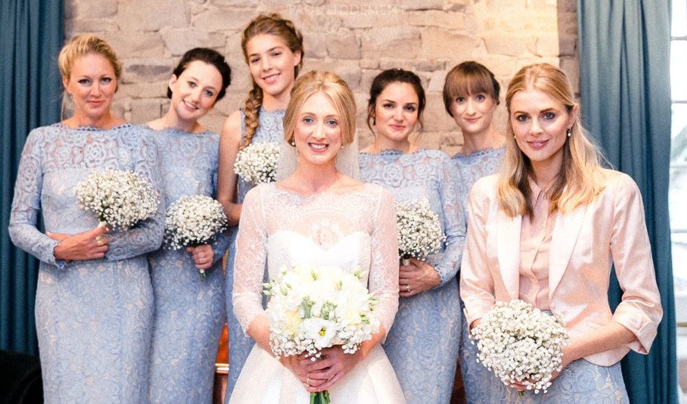 Francesca chose Alara in bluebird for her bridesmaids and we created a bespoke Alara skirt for maid of honour Donna. Photo -  Paul Liddement