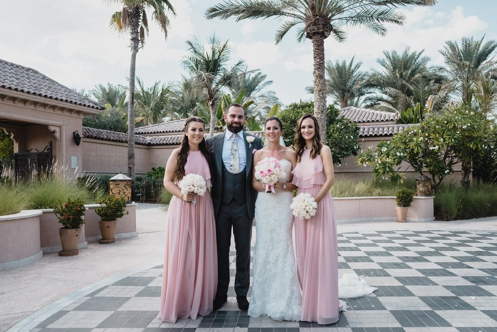 Olympia in Blush for Gemma's bridesmaids in Dubai.