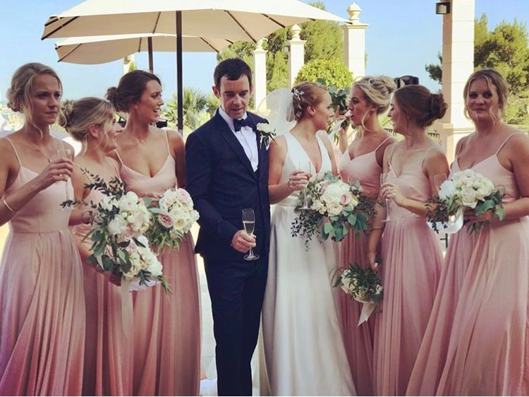 Emily's Majorcan bridal party wearing Edie in Blush.