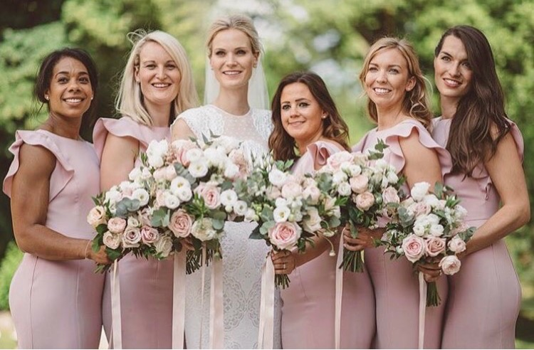 Sophie's stunning bridal party wearing Cecelia in Smoked Blush. Photo -  Love Folio Photography