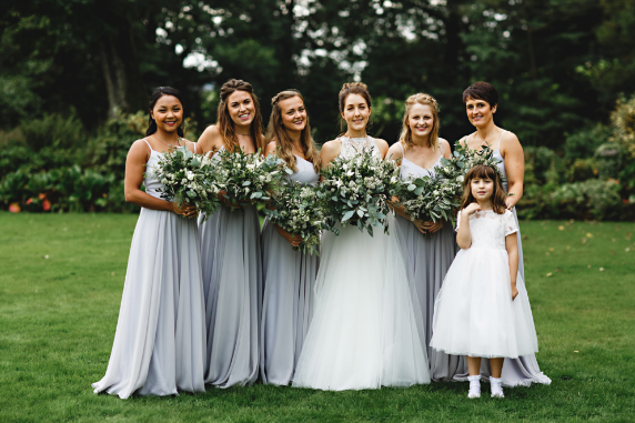 Lauren and her best girls wearing Edie in Silver Mist. Photo -  HBA Photography
