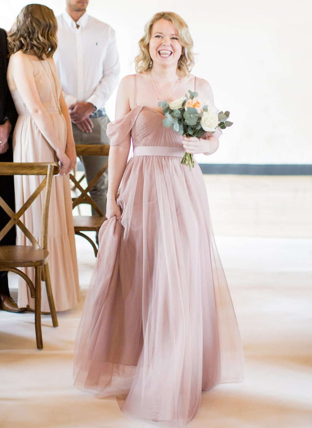 Alexandra's beautiful bridesmaid in Bardot in Smoked Blush. Photo -  Caught The Light