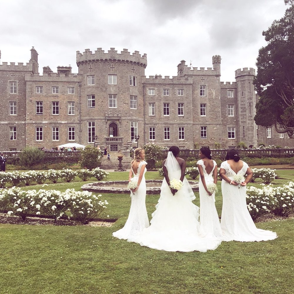 Chido's stunning Irish wedding with bridesmaids wearing Alara Cap in Ivory.