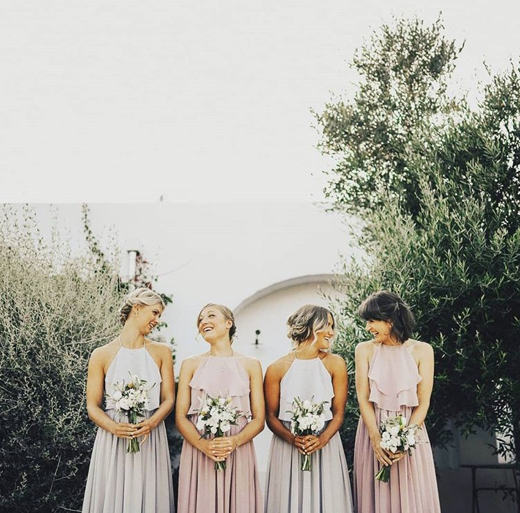 Helena's gorgeous bridesmaids wearing Olympia in Silver Mist and Smoked Orchid - Photo  Ivan Lastorina