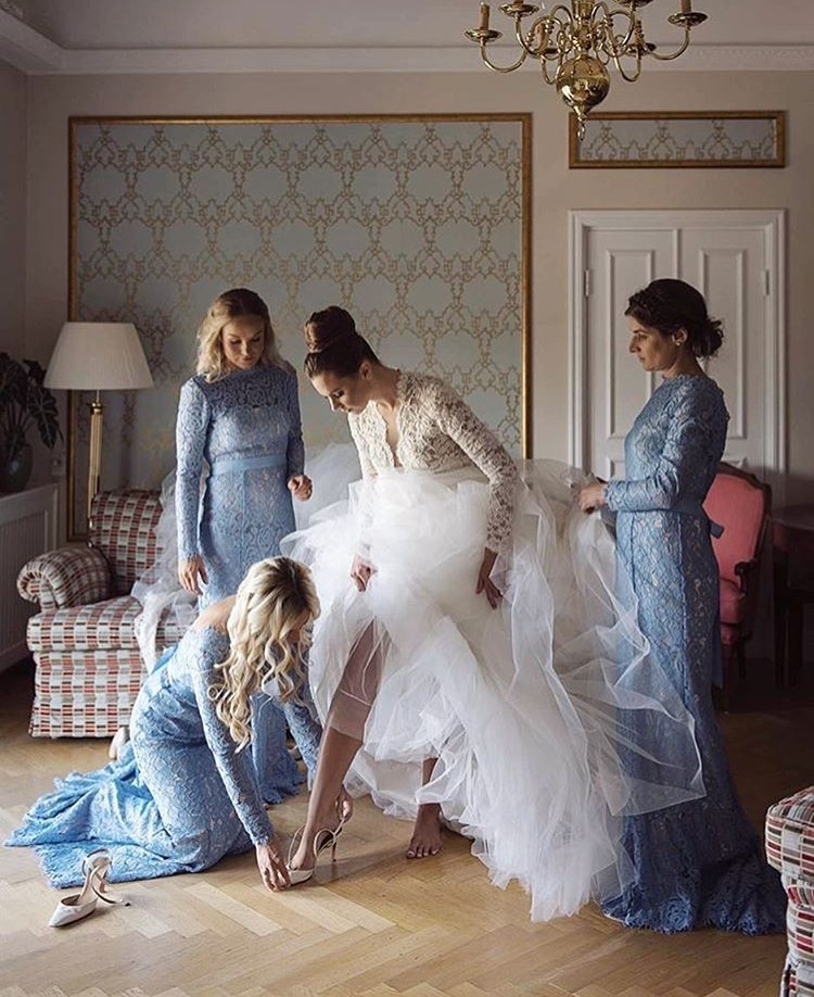 Magdalena's bridal party wearing Alara in Bluebird - Photo  Anna Lauridsen