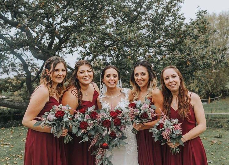 Beautiful bride Lauren with her best girls wearing Edie in Roseberry - Photo  Jayne Barri