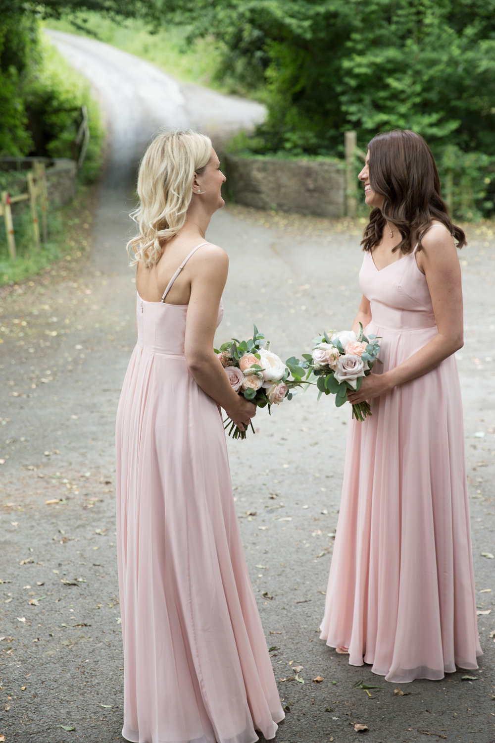 Sophie's gorgeous bridesmaids wearing Edie in Blush - Photo  Helen Warner Photography