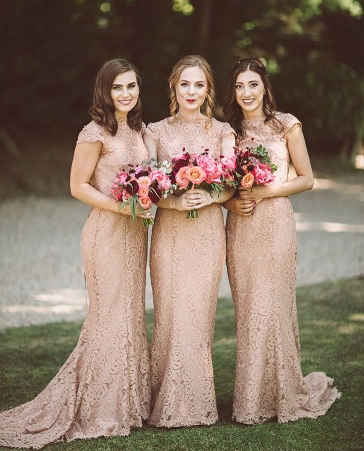 Carrieann's bridesmaids wearing Alara in Tan with an adjustment to cap sleeve - Photo  Lemonade Pictures