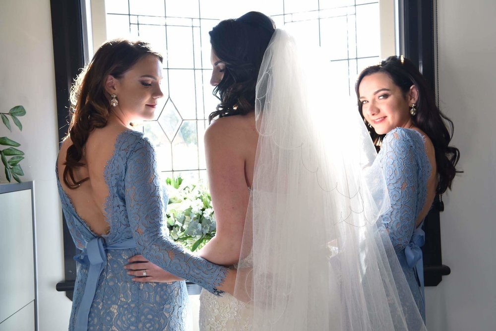 Georgia Louise and her two gorgeous bridesmaids wearing Alara in Bluebird.