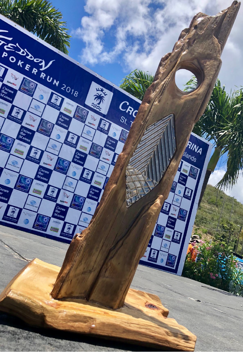 Crown Bay Marina's Irmageddon trophy, designed and handcrafted by marina owner Kosei Ohno.