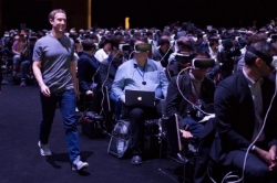 "Mark Zuckerberg walks to the stage at Samsung's Galaxy S7 launch event. Photo from Forbes, ""Mark Zuckerberg and Virtual Reality Outshine Samsung's Galaxy S7,"" 2/22/16."