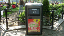 Photo from Engadget.com report on 7/16/16 that BigBelly is seeking a NYC grant to turn their solar-powerd trash receptacles into WiFi hotspots