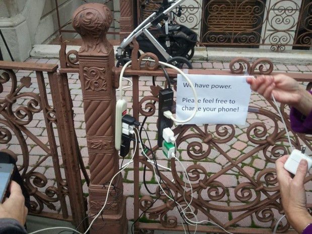 "In its (11/1/12) article, ""5 Unusual Ways Sandy Victims are Charging Their Cellphones,"" The Blaze reported ""A Blaze reader from Hoboken, N.J., sent us this photo of a makeshift charging station outside someone's home."""