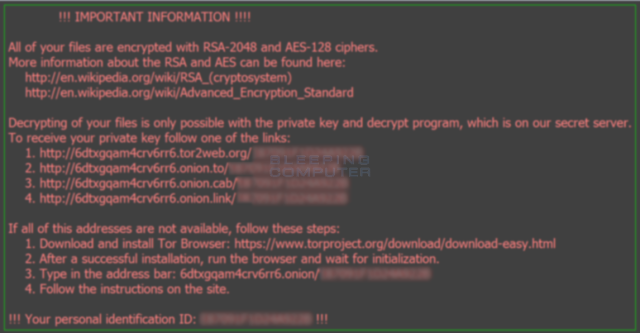 Photo from Ars Technica report on Locky ransomware, 2/18/16.