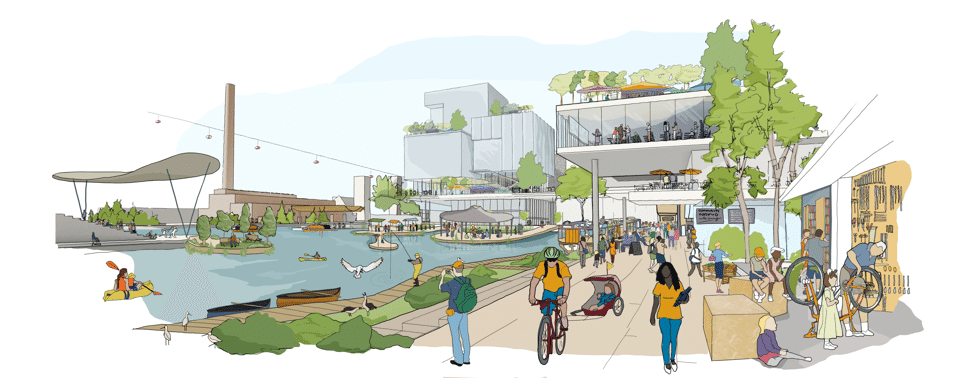 "This rendering of the new Sidewalk Labs urban development project in Toronto illustrates a ""neighborhood built from the internet up"" as reported by  The Atlantic  on 2/13/18"