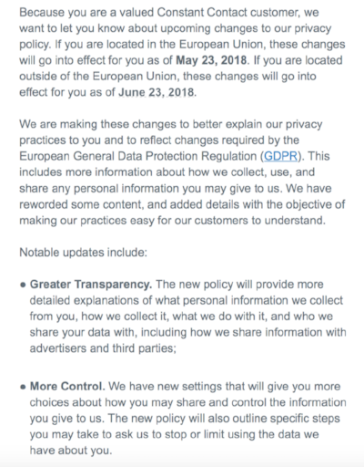 Recent email from Constant Contact notifying customers of their updated privacy policy.