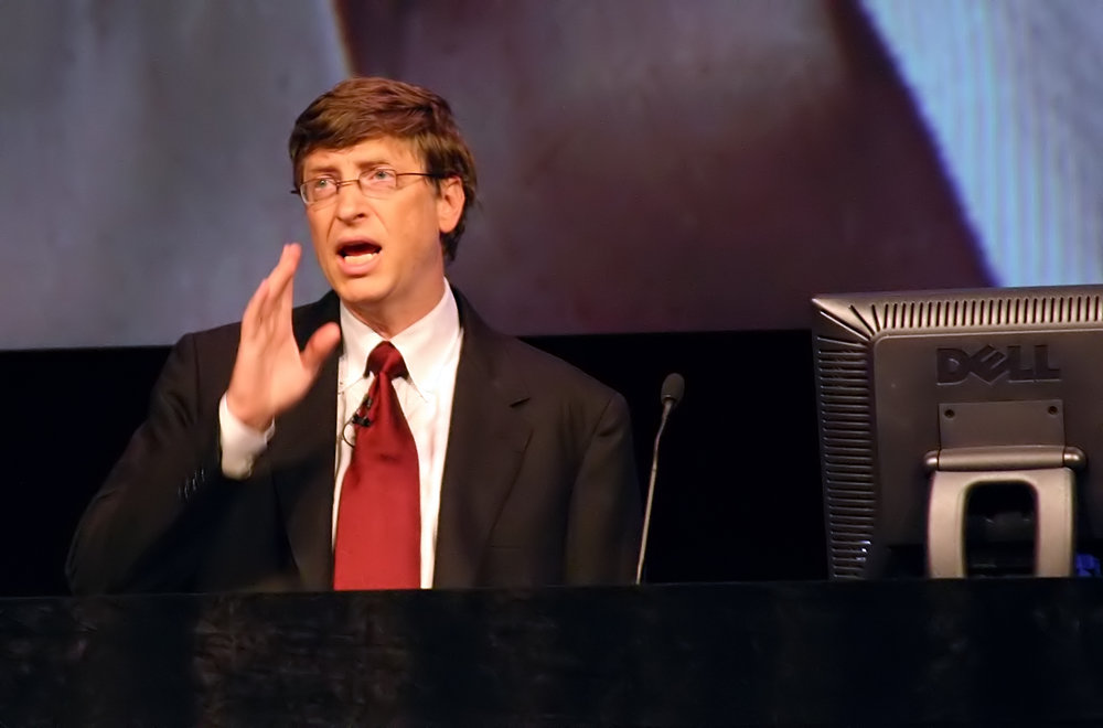 In 2004, Microsoft Chairman Bill Gates predicted the demise of passwords. Photo credit: Kees de Vos |  CC BY-SA 2.0  via Wikimedia Commons.