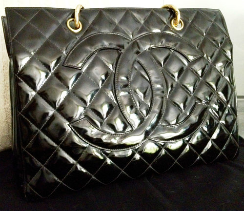 5fc4f5d27d80 SOLD Patent 5 - 100% CLASSIC CHANEL Black Patent Leather Gold Chain Grand  Shopper Tote GST Bag