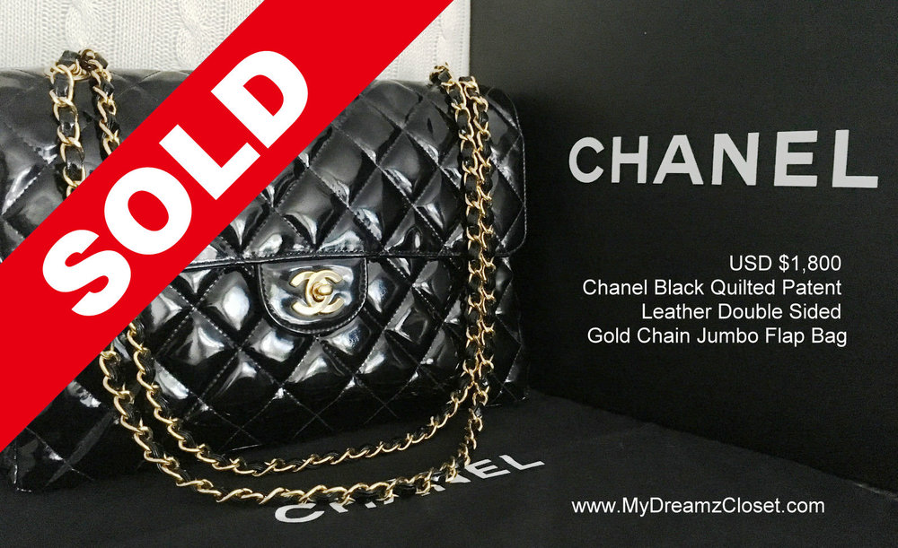 70973478d4aa SOLD Patent 2 - 100% CHANEL Black Quilted Patent Leather Double Sided Gold  Chain Jumbo