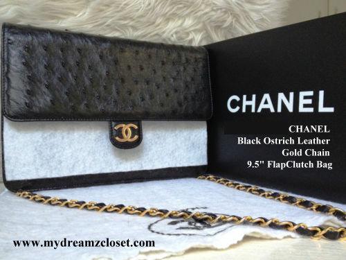 b26151cb52fa RARE NEW 100% Auth CHANEL Black Ostrich Leather Gold Chain 9.5 FlapClutch  Bag