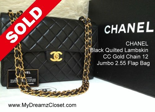 d8cc99f5aef7 CHANEL Black Quilted Lambskin CC Gold Chain 12 Jumbo 2.55 Flap Bag
