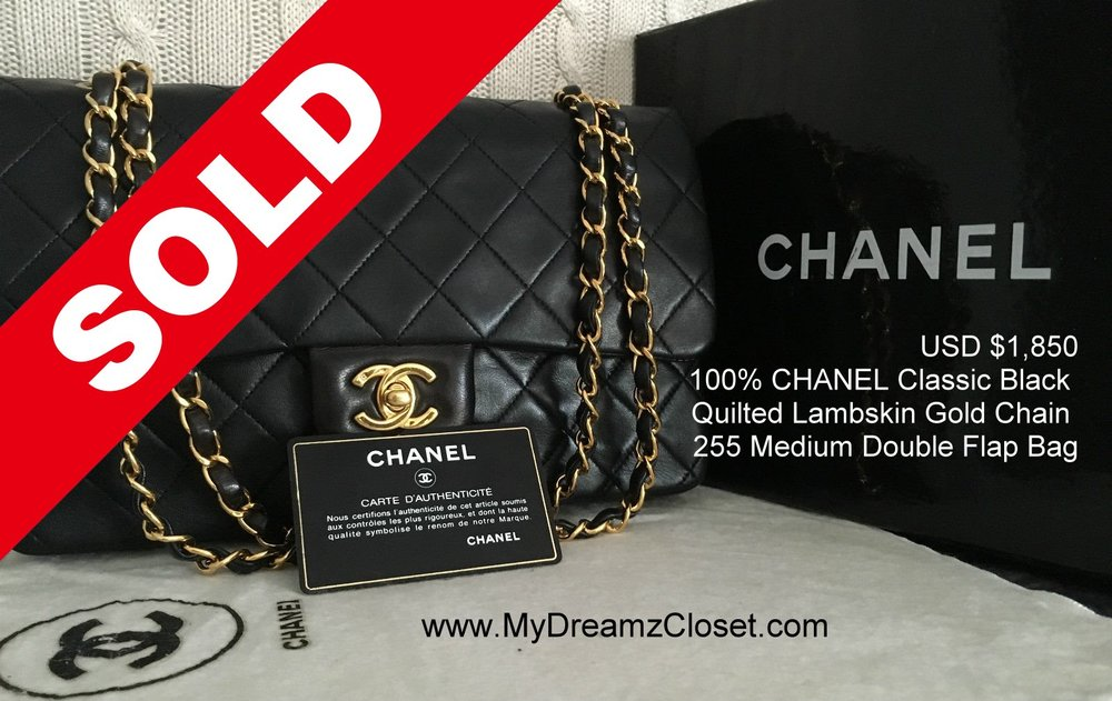 4bc2527b4fc0 100% CHANEL Classic Black Quilted Lambskin Gold Chain 255 Medium Double  Flap Bag