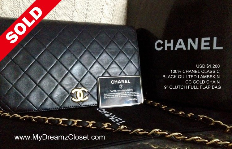 1cde1552c46f 100% CHANEL Classic Black Quilted Lambskin CC Gold Chain 9