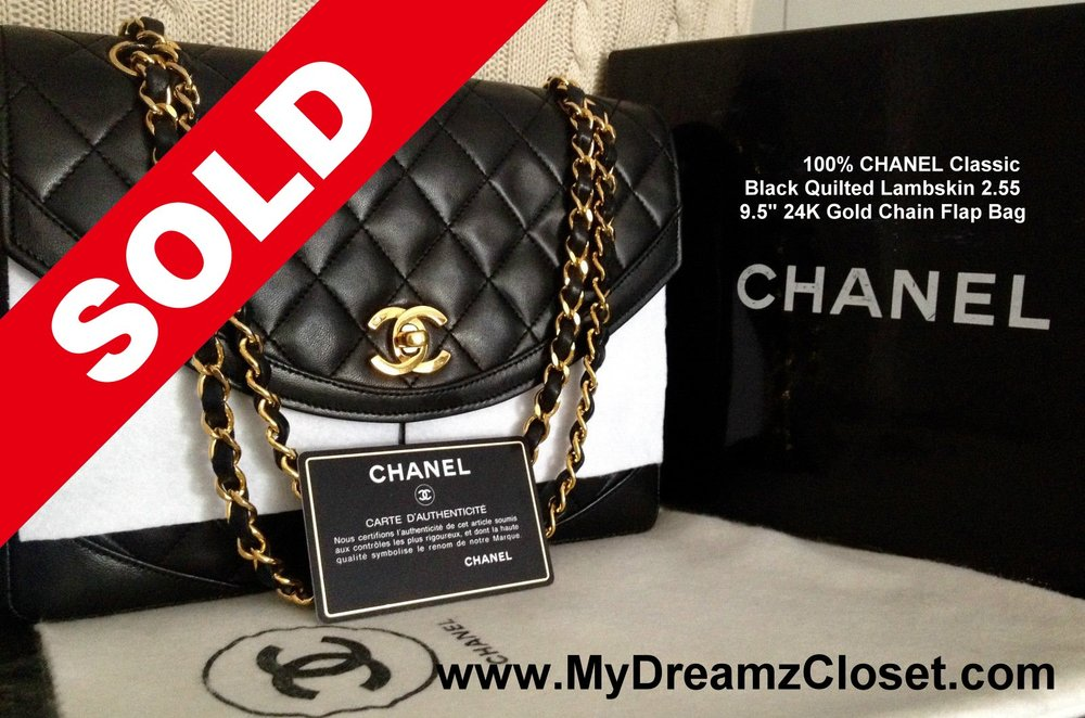 293c8e6c2e36ef 100% CHANEL Classic Black Quilted Lambskin 2.55 9.5