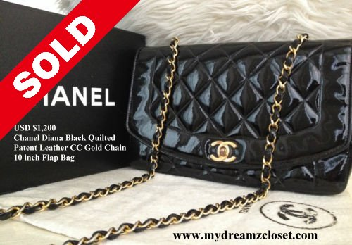 85ddb64dd35f SOLD Patent 1 - CHANEL Diana Black Quilted Patent Leather CC Gold Chain 10  Flap Bag