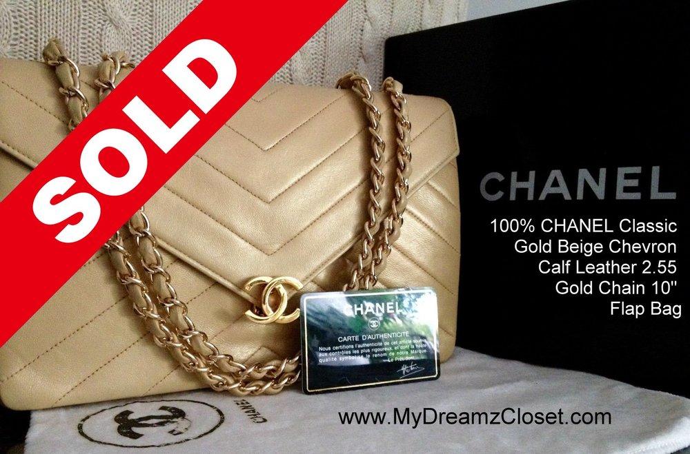 1eda562ec401 SOLD MIX 60 - 100% CHANEL Classic Gold Beige Chevron Calf Leather ...