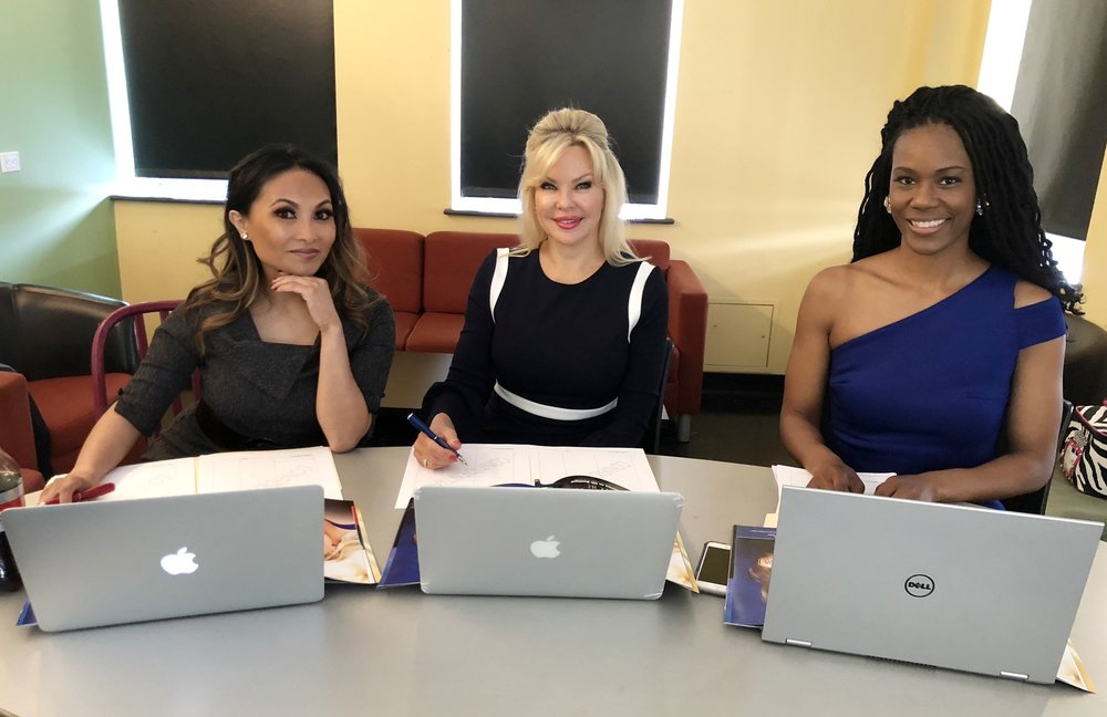 Judges from the Mrs. Pennsylvania America 2018 pageant prepping for their interview session with the contestants. (L to R: Cristine Gollayen, Terri Begg and Tetra Shockley, Esq)